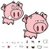 恼怒的矮小的大顶头猪动画片表示集合 免版税库存图片
