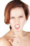 恼怒的秀丽妇女画象 图库摄影