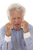 恼怒的老人画象 免版税库存图片