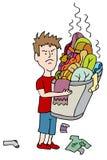 恼怒的肮脏的洗衣店儿童运载的溢出的篮子  免版税图库摄影