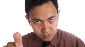 恼怒的表示的滑稽的亚洲人关闭 库存图片