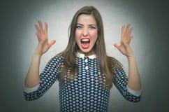 恼怒的被激怒的妇女 要求的不满意的上司 库存图片