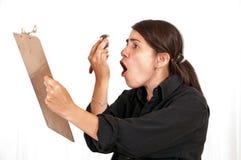 恼怒的设计员女性 免版税库存图片