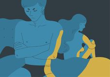 恼怒的赤裸男人和妇女开会在床的反面拒绝了 之间性问题的概念 皇族释放例证