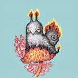 恼怒的邪恶的火蜗牛 免版税库存图片