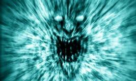 恼怒的邪魔面孔在火尖叫 蓝色颜色 向量例证