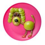 恼怒的长卷毛狗由苹果制成 免版税图库摄影