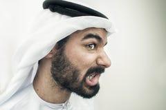 恼怒的阿拉伯商人,阿拉伯商人重音概念  免版税库存图片