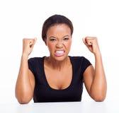 恼怒的非洲妇女 免版税库存照片