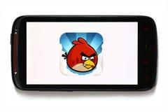 恼怒的鸟移动电话比赛 免版税库存图片