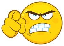 恼怒的黄色动画片Emoji面对与积极表示指向的字符 向量例证