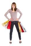 恼怒的购物妇女 免版税库存图片