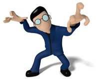 恼怒的3D漫画人物 免版税库存照片