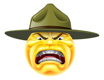 恼怒的Emoji意思号操练军官 免版税库存图片