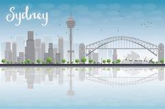 悉尼与蓝天和摩天大楼的市地平线 向量例证