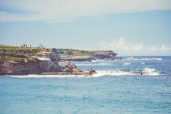 悉尼充分邦迪滩人在一个夏日 免版税库存图片