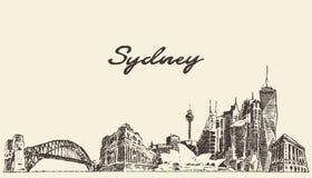 悉尼地平线葡萄酒例证被画的剪影 库存例证