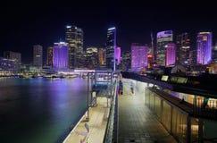 悉尼市都市风景在夜之前 库存图片