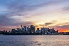 悉尼市1月19,2016的天空烧伤 免版税库存照片