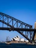 悉尼歌剧院和悉尼港桥 免版税库存照片