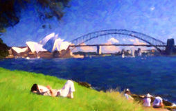 悉尼歌剧院和港口桥梁;油画样式 免版税库存图片