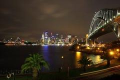 悉尼歌剧院和港口桥梁 免版税库存照片