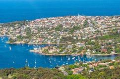悉尼海岸线-新南威尔斯,澳大利亚鸟瞰图  图库摄影