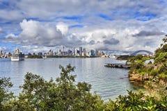悉尼港口低Taronga绿色 库存图片