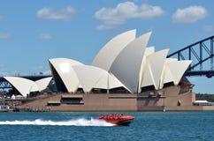 悉尼港口喷气机速度小船 库存照片