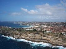 悉尼港口鸟瞰图 免版税库存照片