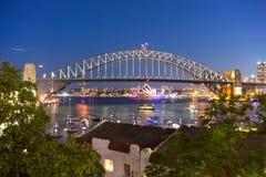 悉尼港桥和歌剧院 免版税库存图片