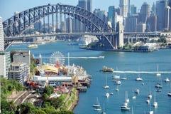 悉尼港桥在悉尼,新南威尔斯,澳大利亚 免版税图库摄影