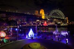 悉尼港桥在晚上之前 图库摄影
