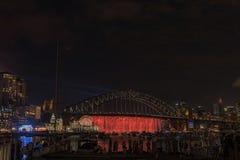 悉尼港桥悉尼澳大利亚在晚上 库存照片