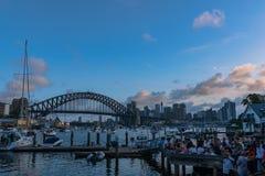 悉尼港桥日落的悉尼澳大利亚 免版税库存图片
