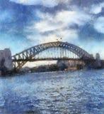 悉尼港桥绘画 库存图片