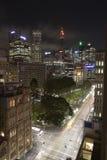 悉尼澳大利亚在晚上 库存照片