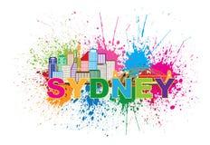 悉尼澳大利亚地平线五颜六色的抽象例证 图库摄影