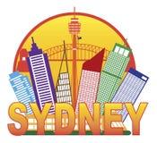 悉尼澳大利亚地平线圈子彩色插图 免版税库存图片