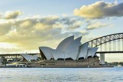 悉尼澳大利亚- 2015年6月21日:日落看法在悉尼O 免版税图库摄影