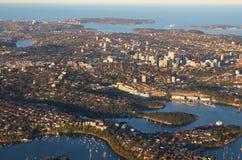 悉尼澳洲鸟瞰图  免版税库存照片