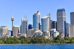 悉尼的地平线在澳大利亚的金融中心 库存图片
