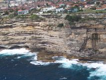 悉尼空中海的峭壁 图库摄影