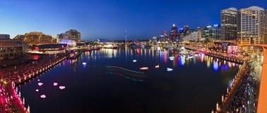 悉尼达令港日落平底锅 免版税库存照片