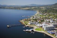悉尼,温哥华岛的空中图象, BC,加拿大 免版税库存照片