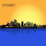 悉尼,澳大利亚,城市,地平线,在平的设计网站的, Infographic设计的传染媒介例证 免版税图库摄影