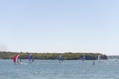 悉尼,澳大利亚- 2014年11月07日:小船在悉尼,澳大利亚 横跨港口的Milsons点有桥梁的 免版税库存照片