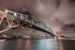悉尼,澳大利亚- 2014年11月18日:悉尼港桥和歌剧院 长期风险 图库摄影