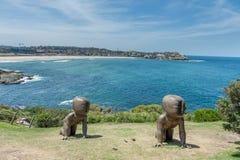 悉尼,澳大利亚- 2014年11月07日:雕塑在悉尼,接近邦迪滩 澳洲 现代艺术陈列 图库摄影