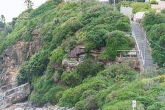 悉尼,澳大利亚- 2014年11月15日:Tamarama海滩和台阶在悉尼,澳大利亚 免版税图库摄影